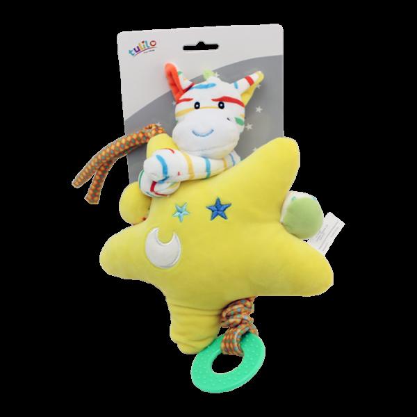Závěsná plyšová hračka Tulilo s melodií Zebra s hvězdou, 22 cm - žlutá