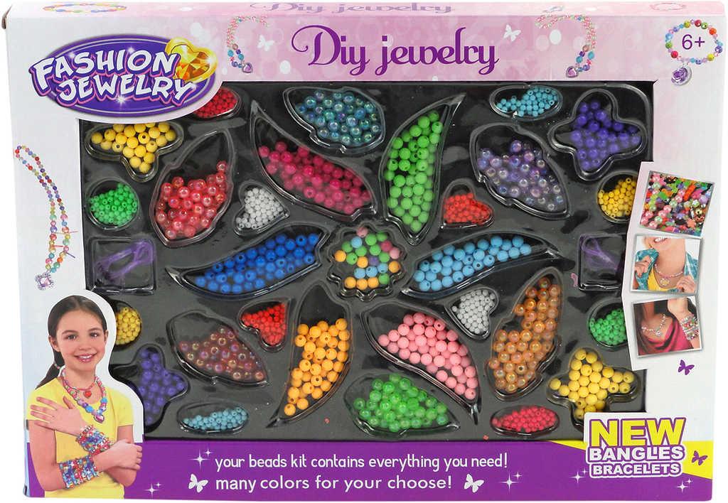 PL Barevné korálky plastový set na výrobu dětské bižuterie v krabici