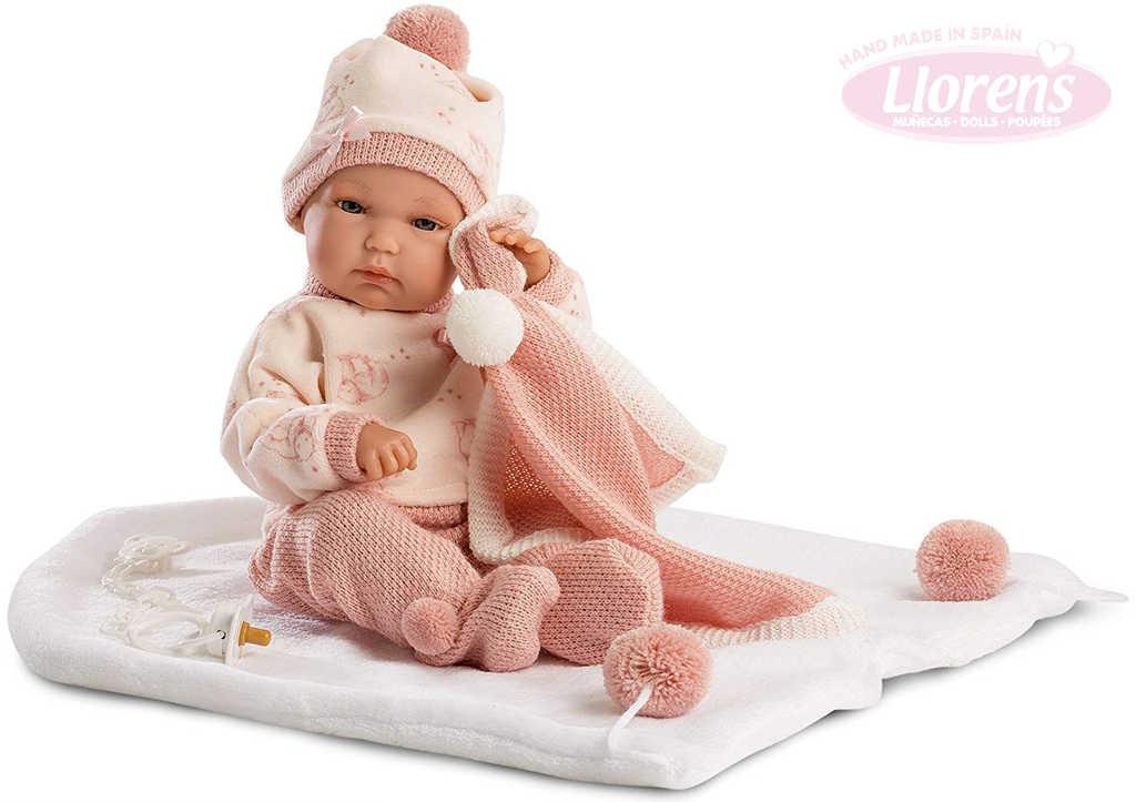 LLORENS Panenka new born miminko holčička 35cm set s dudlíkem a doplňky