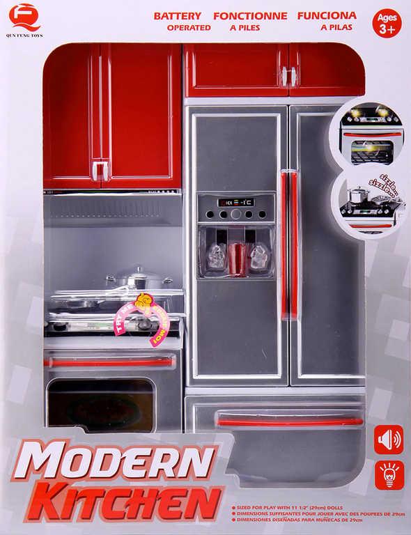 Kuchyně moderní červená set s doplňky na baterie Světlo Zvuk