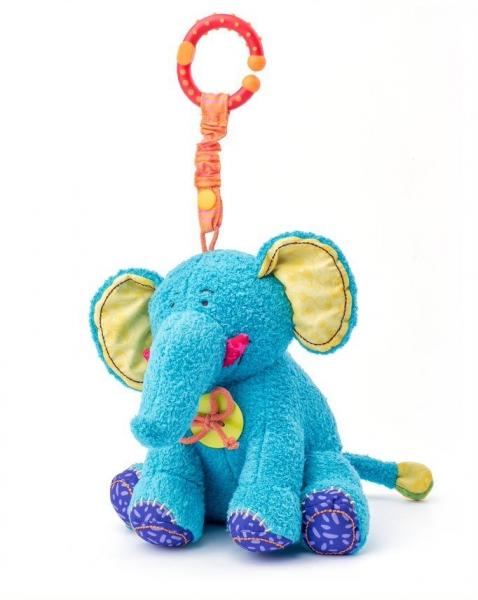 Závěsná plyšová hračka s chrastítkem - Sloník Kaleo