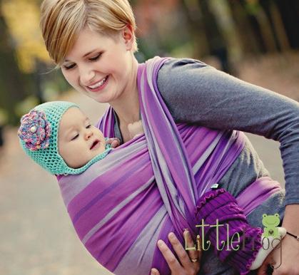 Little FROG Tkaný šátek na nošení dětí - AMETYST - XL