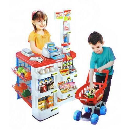 Dětský obchod supermarket s nákupním košíkem