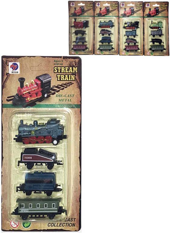 Vlak kovový mini historický set mašinka + 3 vagónky zpětný nátah 4 druhy na kartě