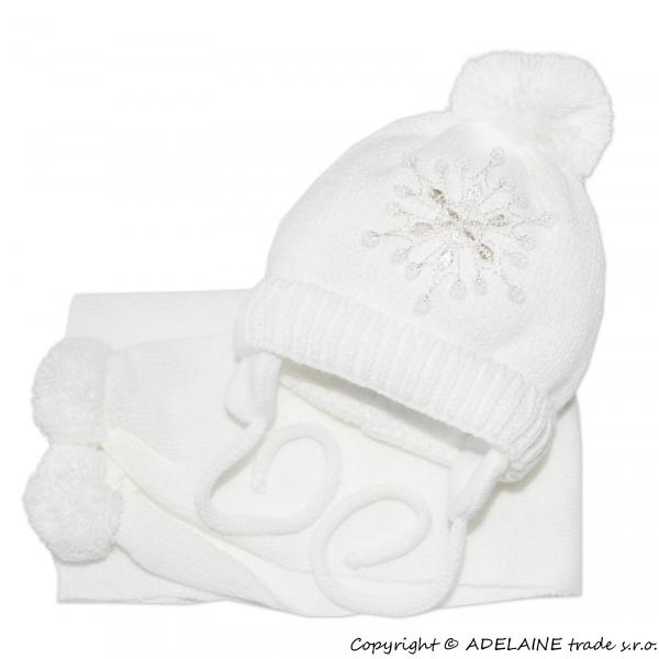 Zimní čepička s šálou - Sněhová vločka v bílé - 0/6 měsíců