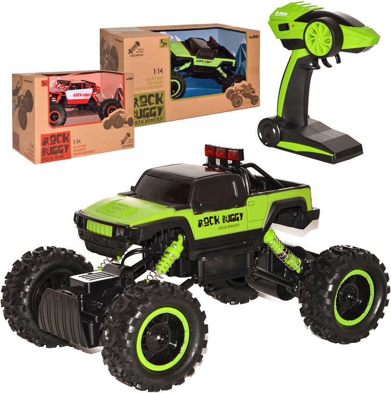 RC Auto 1:14 Rock Buggy 26cm green monster 2.4GHz 4x4 offroad na vysílačku