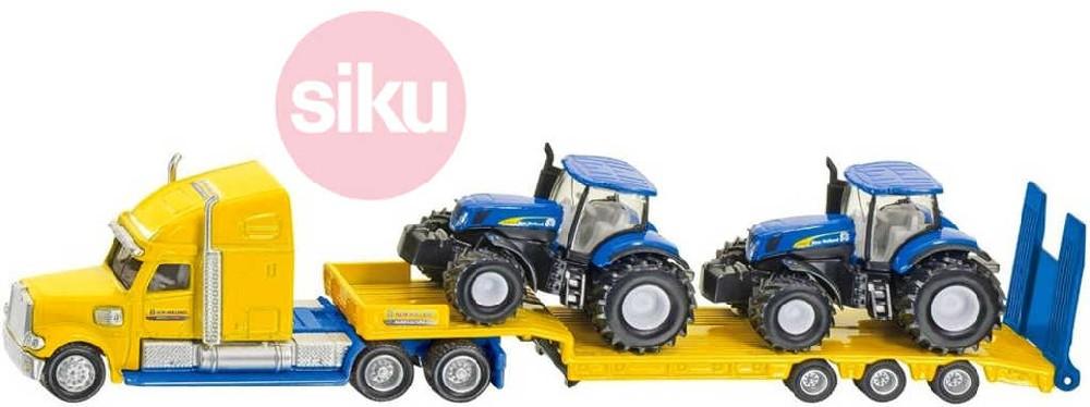 SIKU Tahač kovový s vlekem 1:87 set se 2 traktory New Holland 1805