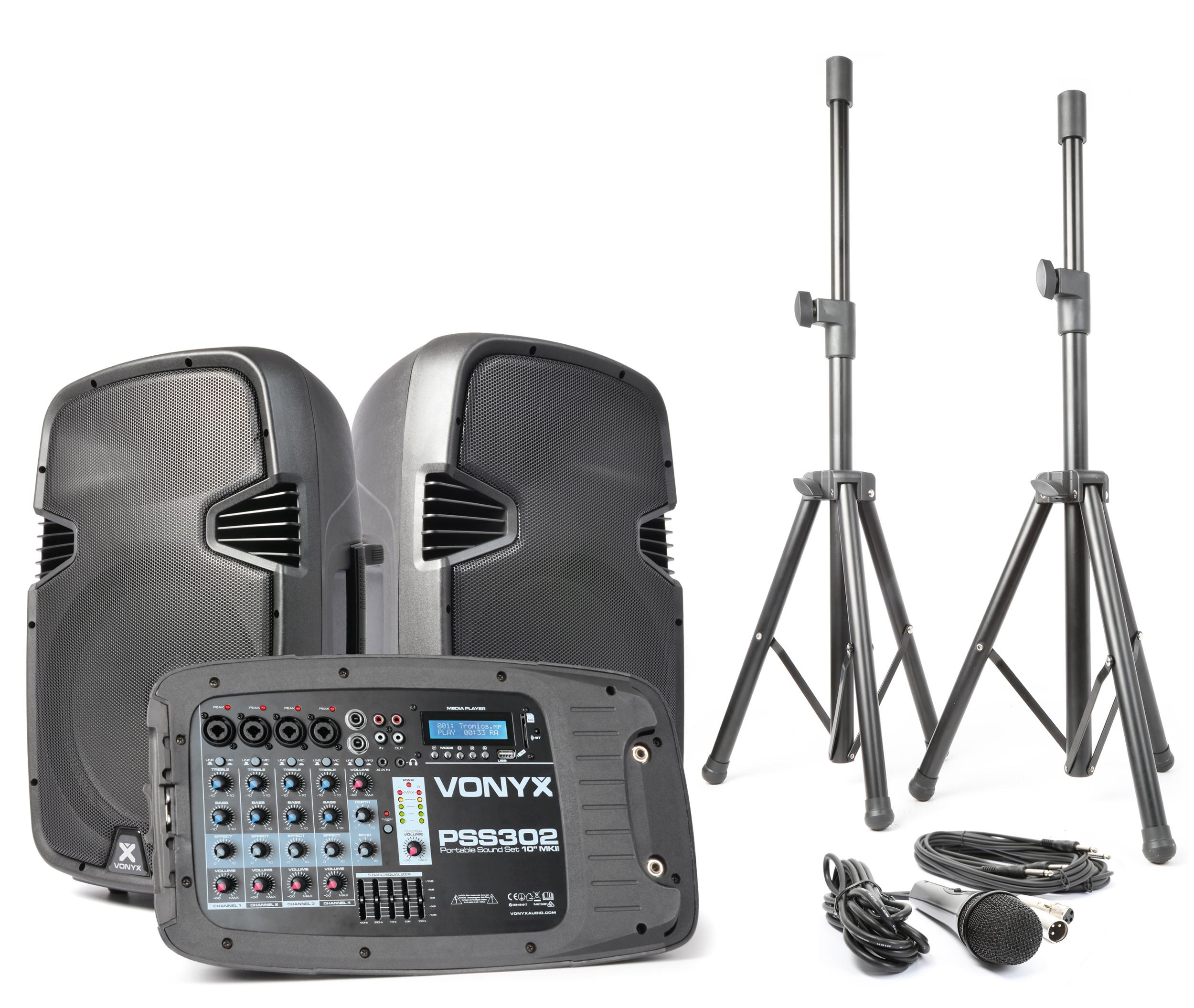 """Vonyx PSS302 mobilní 2x10"""" zvukový systém MP3/BT"""