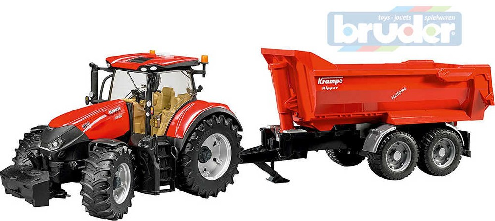 BRUDER 03199 (3199) Set Traktor Case IH Optum 300 CVX + vůz Crampe funkční model