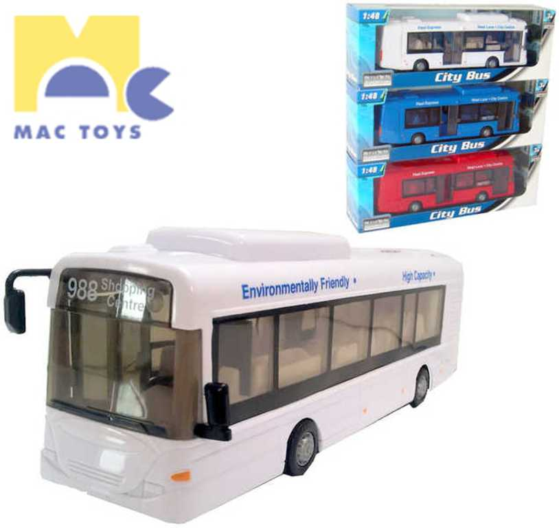 MAC TOYS Autobus 1:48 městský linkový 3 barvy PLAST