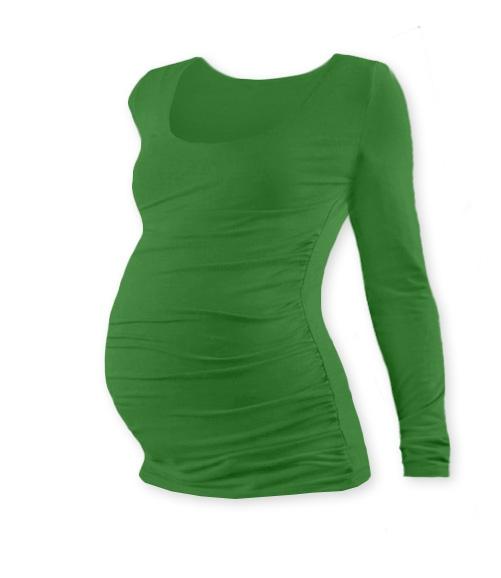 JOŽÁNEK Těhotenské triko Johanka s dlouhým rukávem - tmavě zelená - S/M