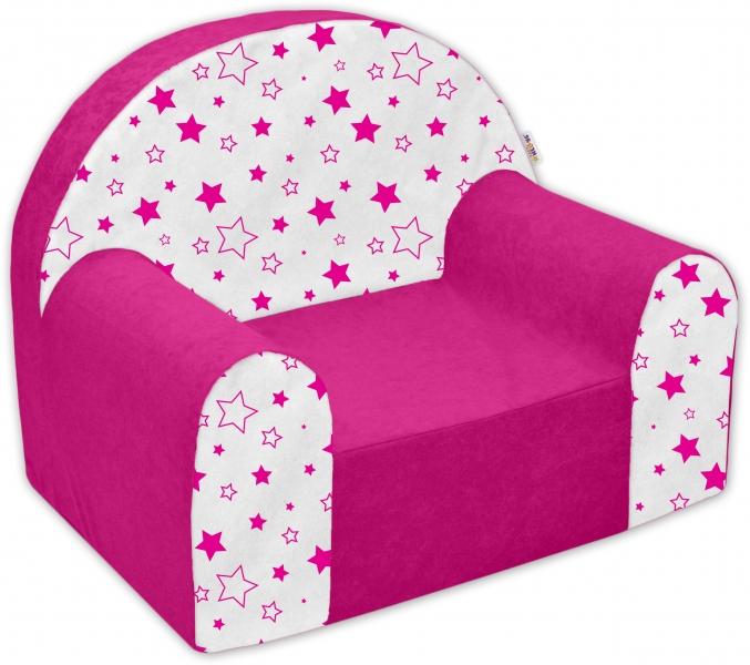Dětské křesílko/pohovečka Nellys ® - Magic stars - růžové