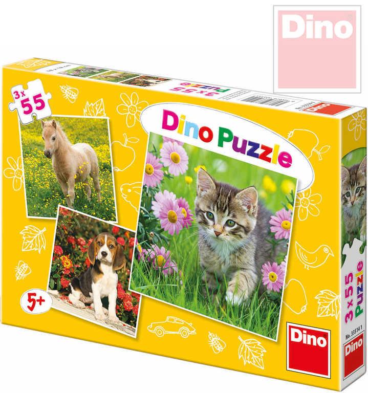 DINO Puzzle 3v1 Zvířátka 18x18cm 3x55 dílků v krabici
