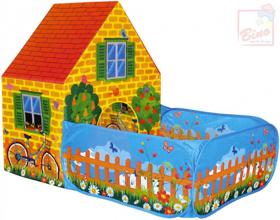 BINO Stan dětský malovaný domeček se zahradou 150x110x90cm