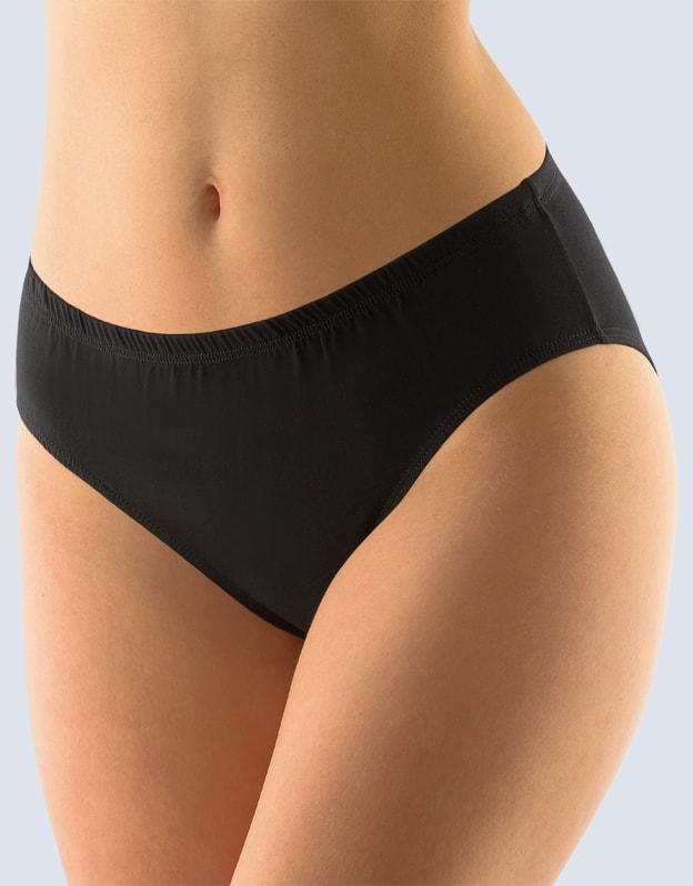 GINA dámské kalhotky klasické, širší bok, šité, jednobarevné 10140P - černá