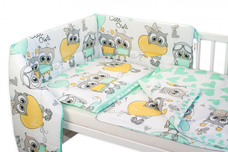 Baby Nellys Mantinel do postýlky 180x30 cm, Cute Owls - zelený