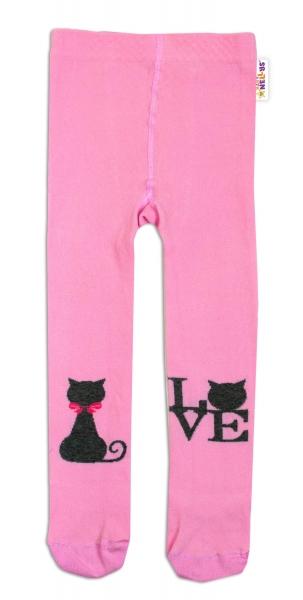Baby Nellys Bavlněné punčocháče I Love Cat - růžové, vel. 92/98 - 92/98