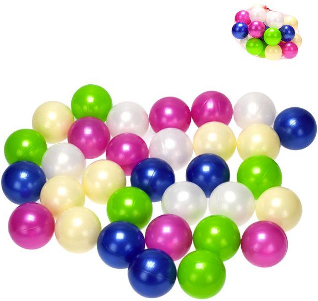 Baby míčky perleťové 7 cm do hracího koutu do vody set 32 ks v síťce měkký plast