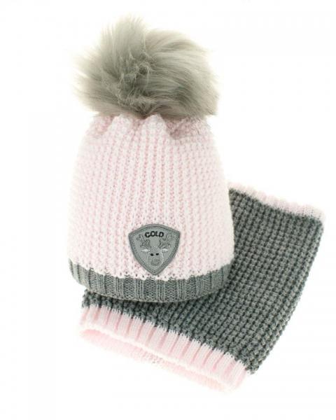 Zimní čepice s komínkem - chlupáčková bambulka - sv. růžová/šedá