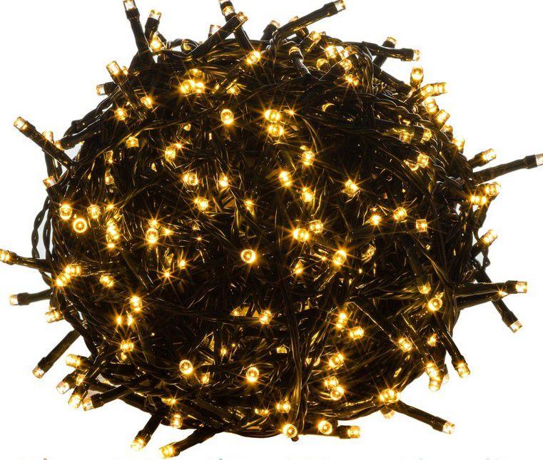 Vánoční LED osvětlení 5 m - teple bílá 50 LED - zelený kabel