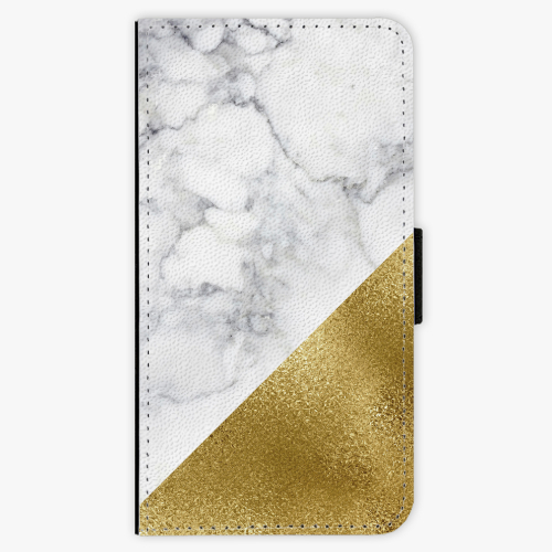 Flipové pouzdro iSaprio - Gold and WH Marble - iPhone X