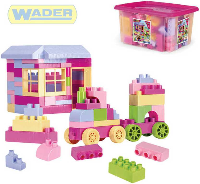 WADER Kostky 132 dílů v boxu holčičí stavebnice