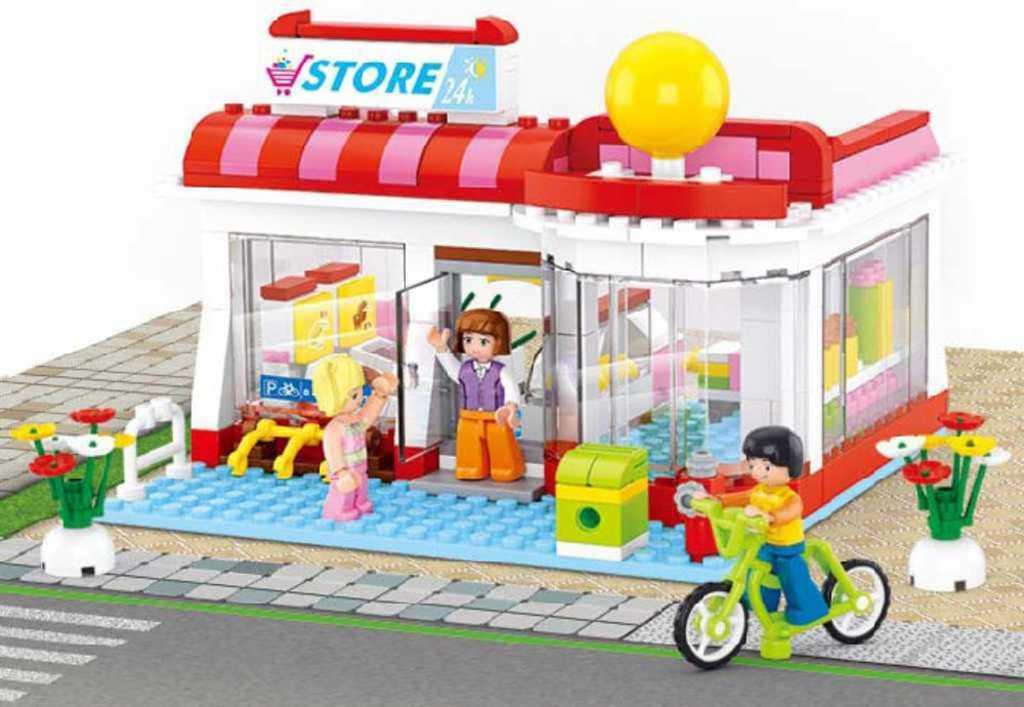 SLUBAN Stavebnice GIRLS supermarket non-stop set 289 dílků + 3 figurky plast
