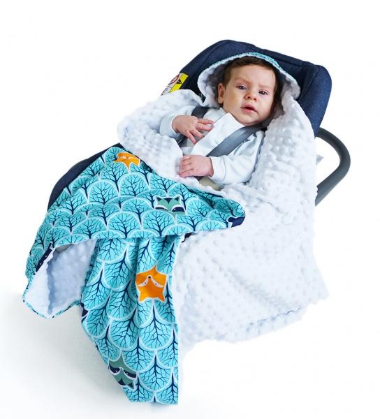 baby-nellys-luxusni-bavlnena-decka-3v1-s-minky-90-x-90-cm-lesik-tyrkys-minky-bila