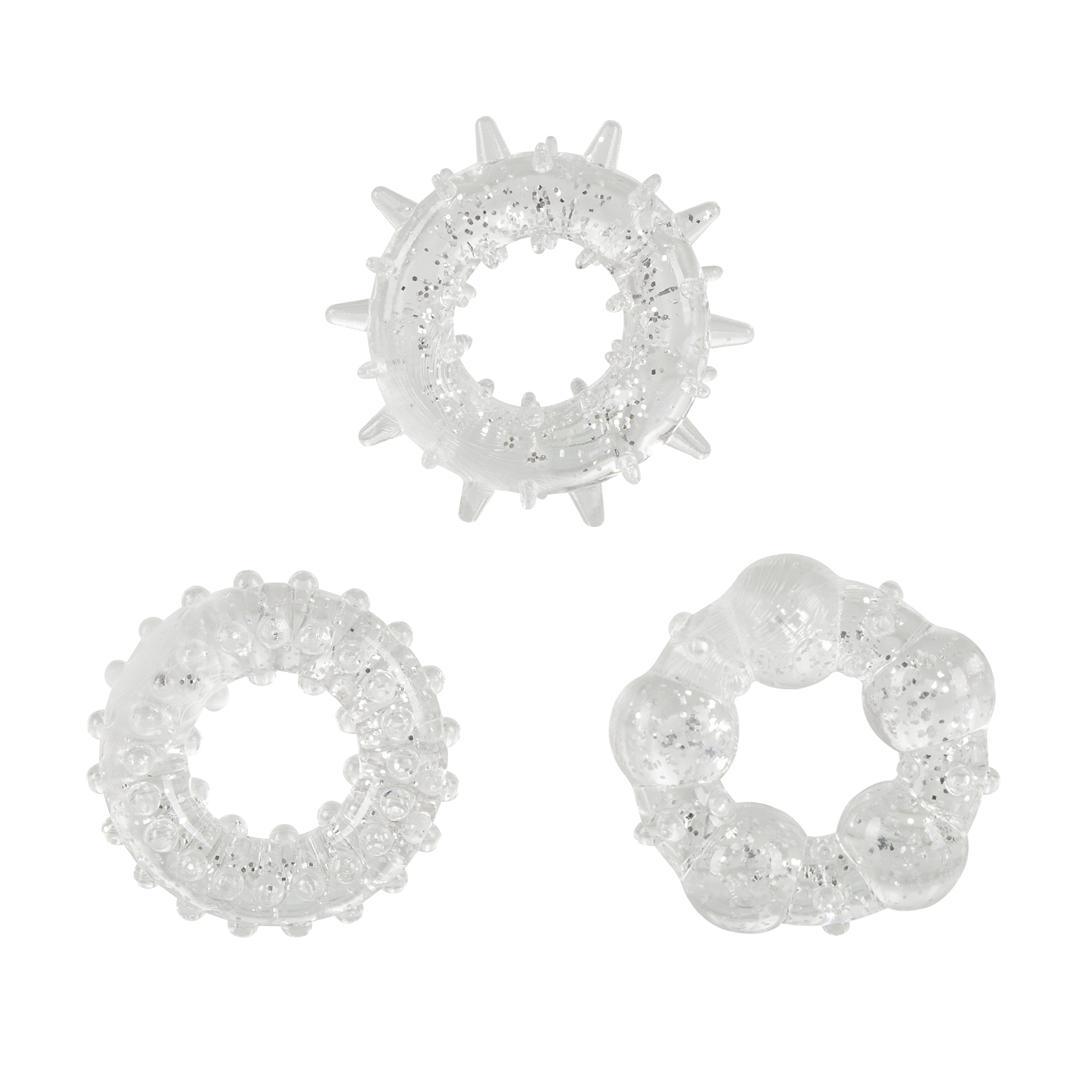 3 silikonové kroužky na penis - Stardust