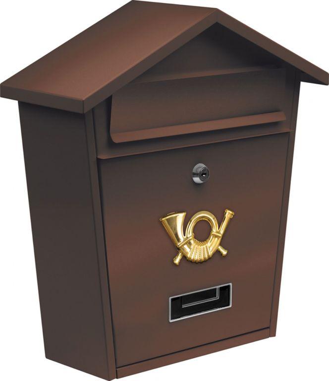 Poštovní schránka se stříškou - hnědá