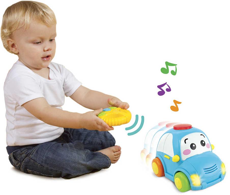 IR/C Baby autíčko veselé 14cm na vysílačku na baterie Světlo Zvuk
