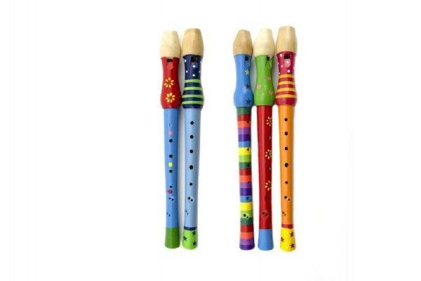 Flétna dřevo 33 cm mix barev v sáčku