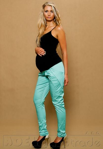 Těhotenské kalhoty ALADINKY - Mátové - L