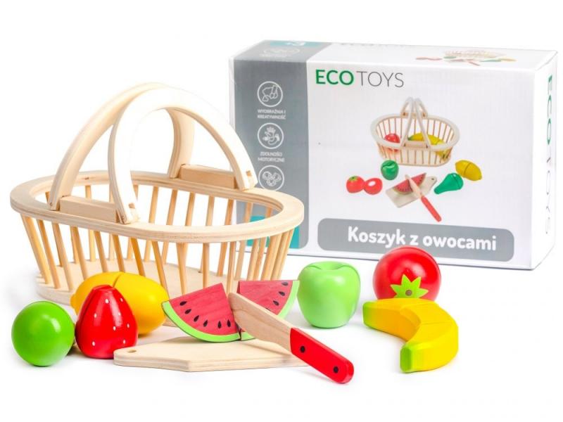 Dřevěný košík s ovocem ECO TOYS - 10 kusů