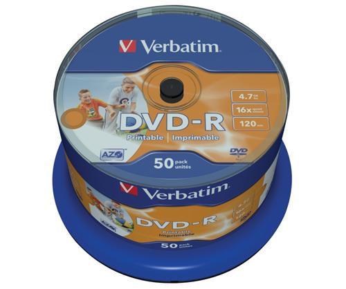 Médium Verbatim DVD-R 4,7GB 16x Printable 50-cake