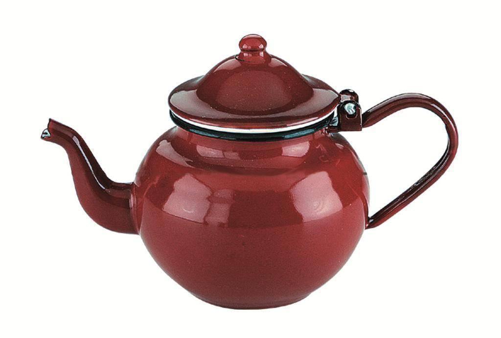 Smaltovaná konvička na čaj 0,75l - červená