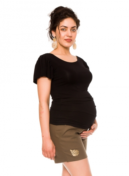 Be MaaMaa Těhotenské lněné kraťasy s růžičkou