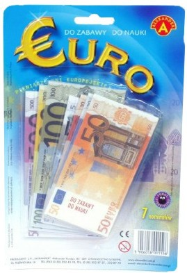 Peníze EURA makety BANKOVKY dětské
