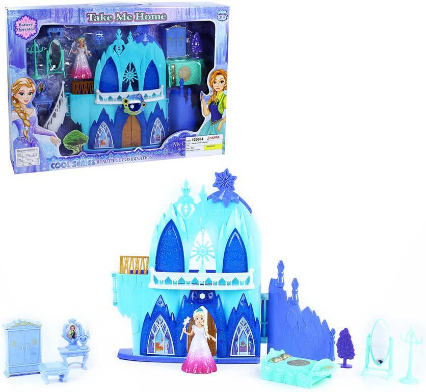 Zámek zimní království herní set s panenkou a nábytkem na baterie Světlo Zvuk
