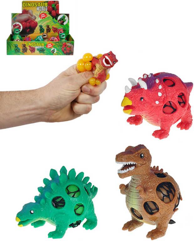 Dinosaurus strečový mačkací 9 cm s míčkem - 3 druhy
