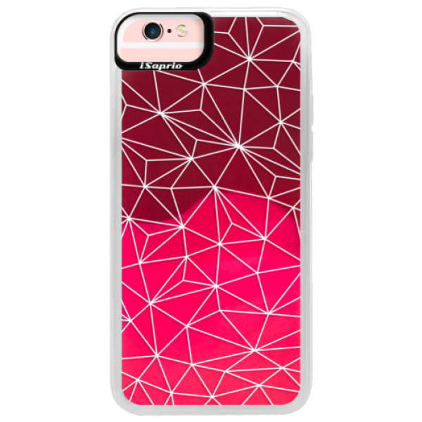 Neonové pouzdro Pink iSaprio - Abstract Triangles 03 - white - iPhone 6/6S