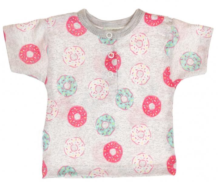 Bavlněné Polo tričko s krátkým rukávem Donuty - šedé - 56 (1-2m)