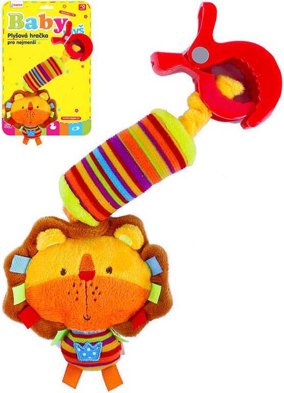 PLYŠ Baby lvíček s klipem chrastítko pro miminko PLYŠOVÉ HRAČKY