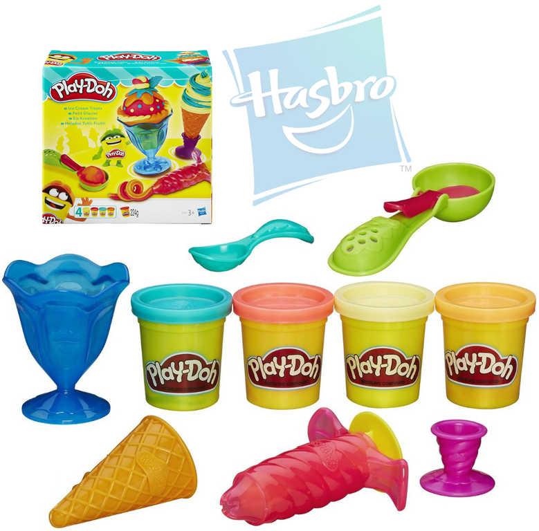 HASBRO PLAY-DOH Modelína Výroba zmrzliny set 4 kelímky set s pohárky a doplňky