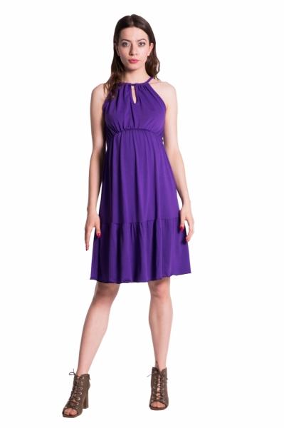 Letní těhotenské šaty na ramínkách - fialové - UNI