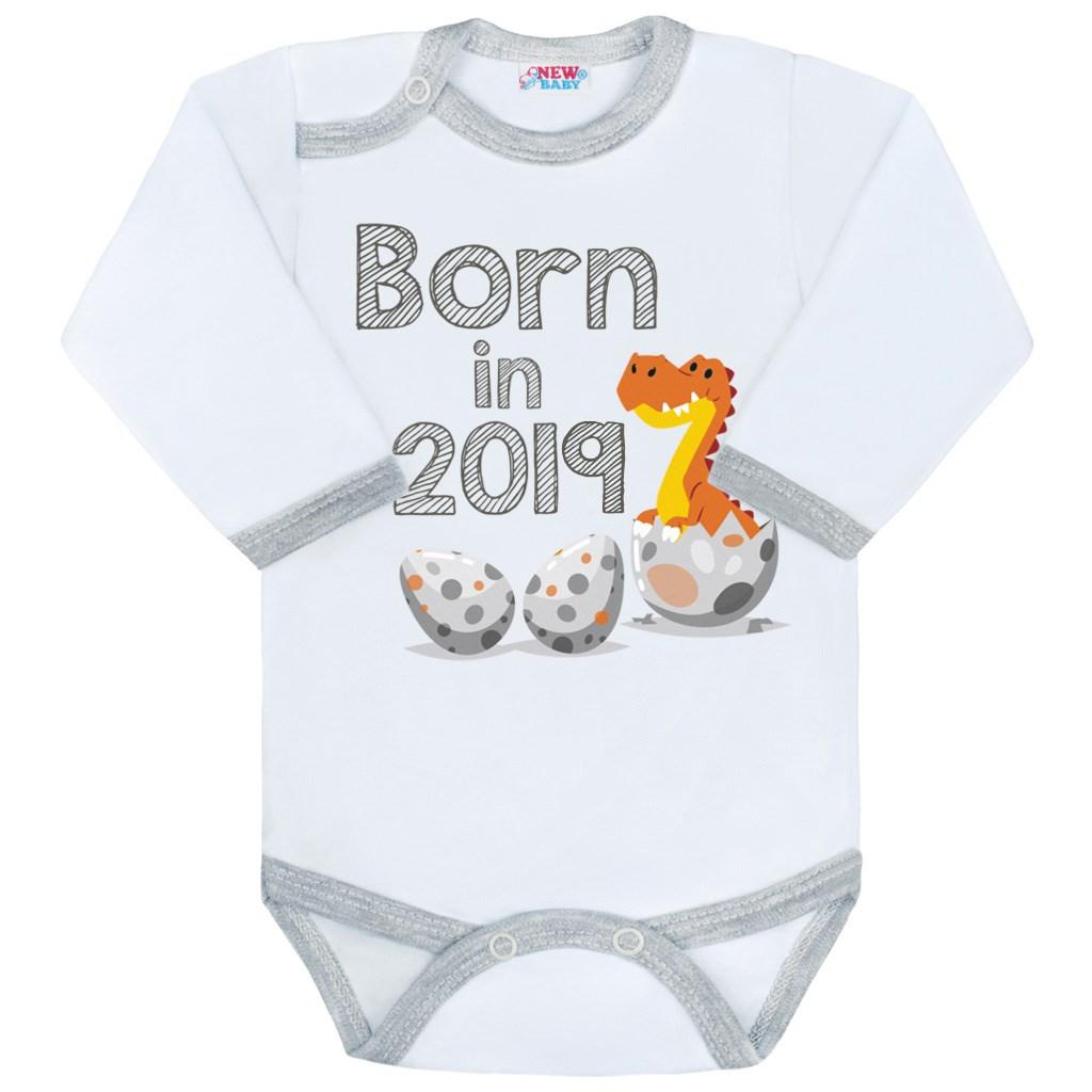 Body s potiskem New Baby Born in 2019 šedo-bílé