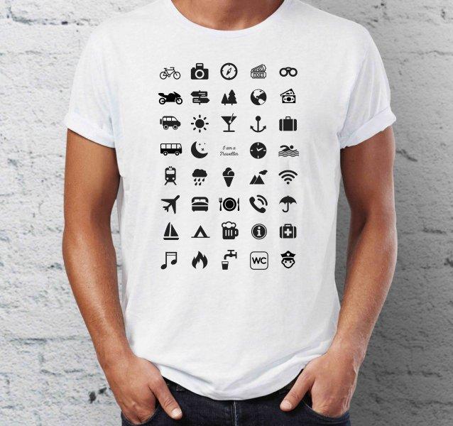 Cestovní tričko s ikonami - Bílé - velikost L