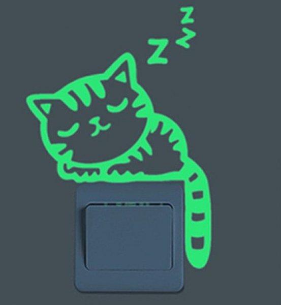 Svítící samolepka - Spící kočka