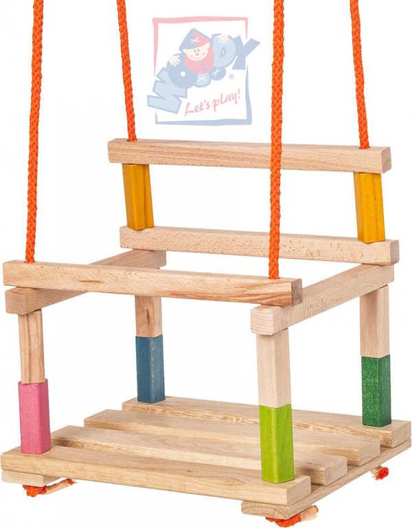 WOODY DŘEVO Houpačka premium dětská masiv natur dřevěná s ohrádkou