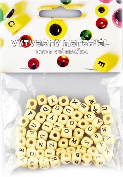 Korálky dřevěné abeceda, 60ks v sáčku 10x16cm